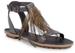 Brunello Cucinelli Faux Feather Leather Ankle-Strap Flat Sandals
