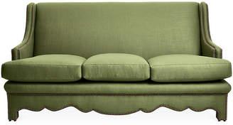 Bunny Williams Home Nailhead Sofa - Green Linen