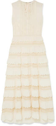 RED Valentino Lace-trimmed Crepe De Chine And Point D'esprit Tulle Maxi Dress - Ivory