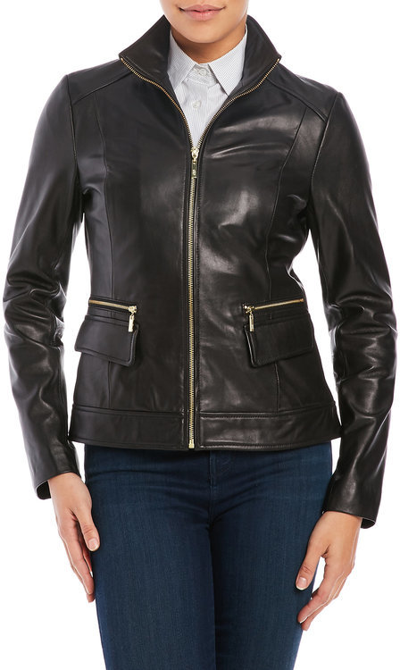 Cole Haan  cole haan Zip Front Leather Jacket