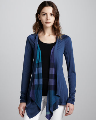 Burberry Reversible Waterfall Cardigan, Pale Indigo