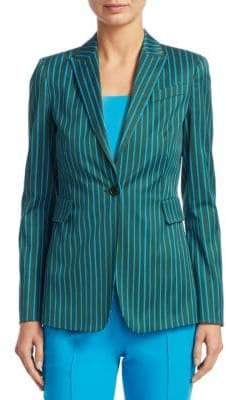 Akris Punto Striped Button-Front Cotton Jacket