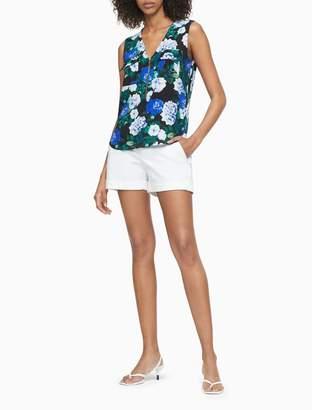 Calvin Klein Floral V-Neck Zip-Front Sleeveless Top