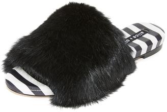 alice + olivia Ramona Fur Slides $225 thestylecure.com