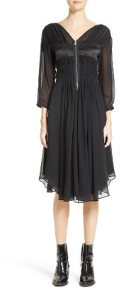 Women's Belstaff Herriot Ruched Silk Georgette Dress $1,295 thestylecure.com
