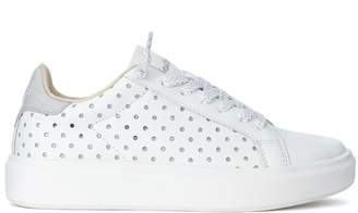 Lotto Leggenda Sneaker Impressions In White And Glitter Leather