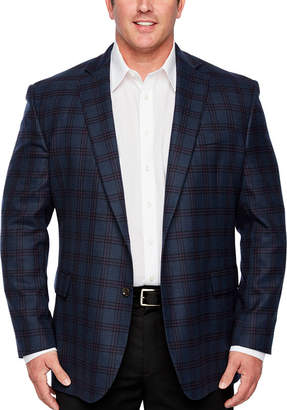 STAFFORD Stafford Merino Wool Stretch Blue Plum Checked Classic Fit Sport Coat - Big and Tall