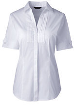Lands' End Women's Short Sleeve French Cuff Tuxedo Stretch Shirt-True Blue $45 thestylecure.com