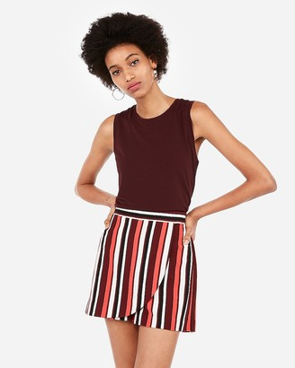 Express High Waisted Striped Wrap Front Skort