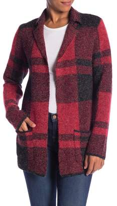 Joseph A Notch Lapel Plaid Cardigan Coat
