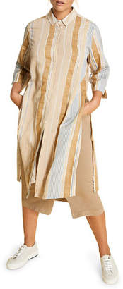 Marina Rinaldi Plus Size Doppiare Striped Button-Down 3/4-Sleeve Long Shirt