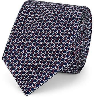 Barneys New York Men's Chain-Link-Pattern Silk Satin Necktie - Navy