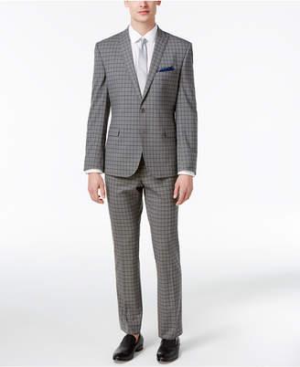 Nick Graham Men's Slim Fit Stretch Gray and Black Check Suit $395 thestylecure.com