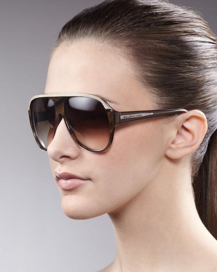 Balenciaga Walnut Aviator Sunglasses