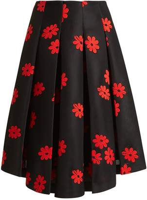 Simone Rocha Floral-embroidered neoprene midi skirt