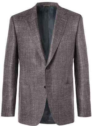Canali Brown Slim-Fit Basketweave Wool, Silk And Linen-Blend Blazer