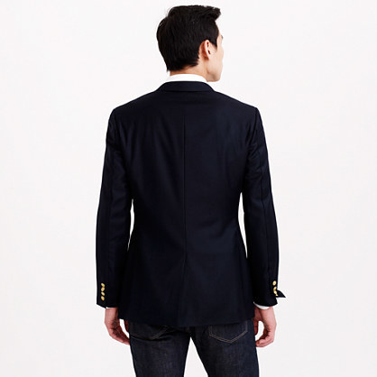 Ludlow club blazer with center vent in Italian wool