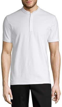 Claiborne Short Sleeve Woven Polo Shirt