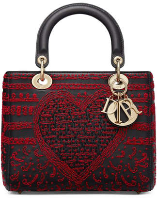 Christian Dior Lady Top Handle Embroidered Red/Black