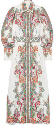 Zimmermann Ninety-six Belted Printed Linen Maxi Dress - White