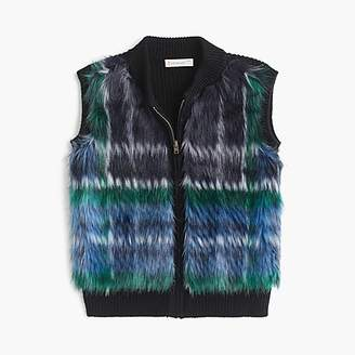J.Crew Girls' plaid fur sweater vest