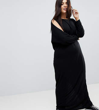 Asos Maxi Harem Dress With Cold Shoulder And Long Sleeves