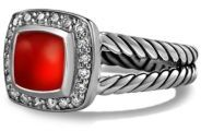 David Yurman Petite Albion Ring with Carnelian and Diamonds $675 thestylecure.com