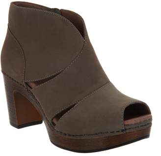 Dansko Leather Peep-toe Booties - Delphina