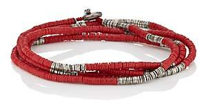 M. Cohen Men's Rondelle-Bead Wrap Bracelet-Red