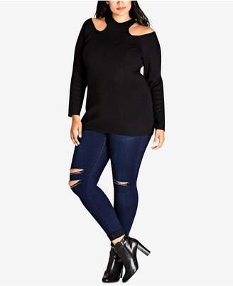 City Chic Trendy Plus Size Mock-Neck Cold-Shoulder Sweater