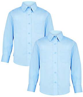 John Lewis & Partners Girls' Long Sleeve School Blouse, Pack of 2, Blue