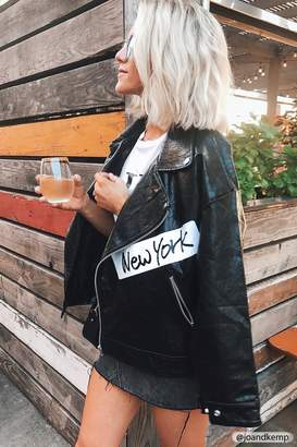 Forever 21 Graphic Faux Leather Moto Jacket