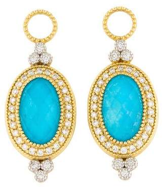 Jude Frances 18K Diamond, Moonstone & Turquoise Doublet Earring Charms