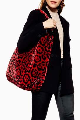 Topshop Womens Kenya Leopard Red Tote Bag - Red