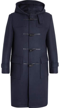 MACKINTOSH Leather-Trimmed Felted Wool Duffle Coat - Men - Navy