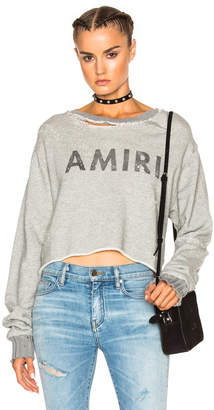 Amiri Cropped Sweatshirt in Grey | FWRD