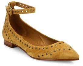 Frye Sienna Grommeted Suede Ankle-Strap Flats