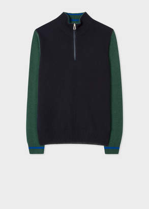 Paul Smith Men's Navy And Green Funnel Neck Half-Zip Sweater