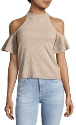 Saks Fifth Avenue Cold Shoulder Knitted Cashmere Top