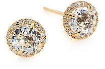 Ef Collection Women's Diamond, White Topaz & 14K Yellow Gold Stud Earrings