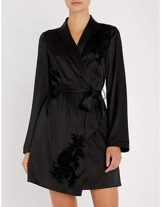Myla Primrose Hill floral-embroidered silk-satin robe