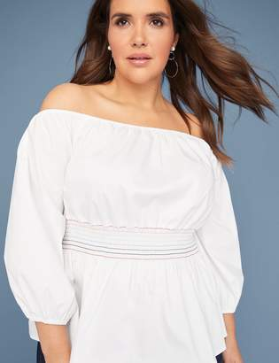 Smocked-Waist Off-the-Shoulder Top