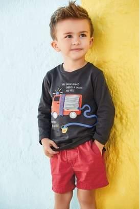 Next Boys Charcoal Fire Engine Long Sleeve T-Shirt (3mths-7yrs)