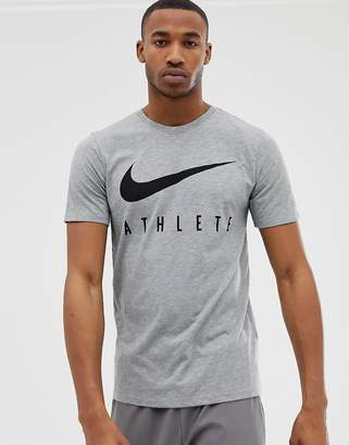 Nike Training Dry Athlete Logo T-Shirt In Grey 739420-063