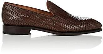 Carmina Shoemaker Men's Woven Leather Venetian Loafers - Dk. brown
