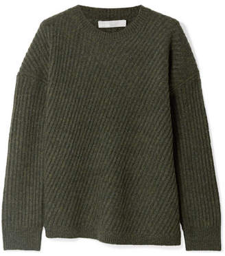 Vince Asymmetric Ribbed Wool-blend Sweater - Army green