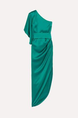 Ralph & Russo - Belted One-shoulder Asymmetric Silk-satin Dress - Teal