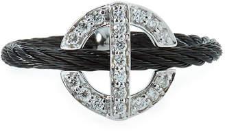 Alor Diamond Circle-Station Ring Black Size 6.5