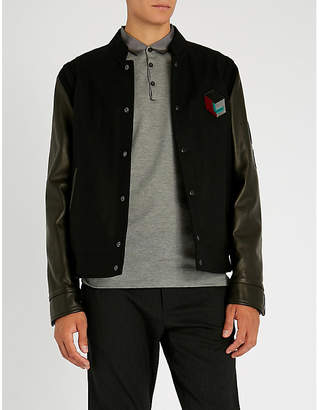 Lanvin Embroidered wool-blend and leather varsity jacket