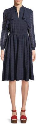 Tory Burch Grace Tiered Long-Sleeve Dress
